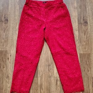 J.Crew Cropped Red Lace Pant